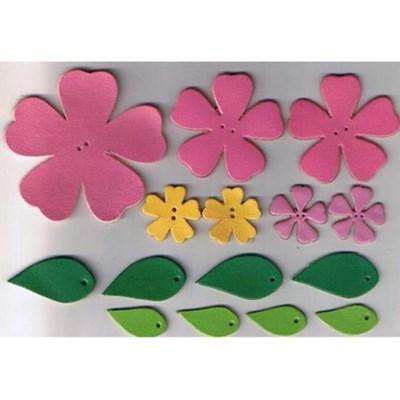 Leren bloemen roze - geel op=op