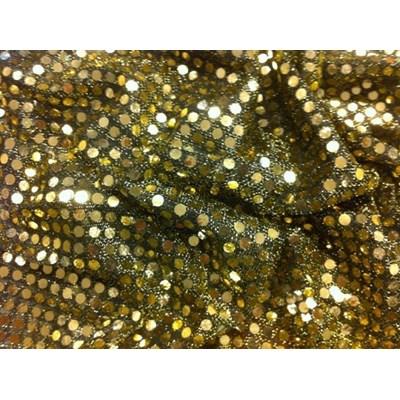 Stof met rondjes 550 goud 1 meter op=op