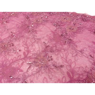 Tule de luxe 22 met bloemen en kraaltjes roze per 25 cm