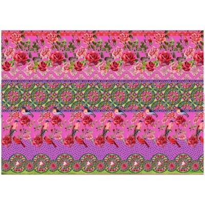 Stenzo tricotstof rozen met vogel - fel roze 1 meter op=op