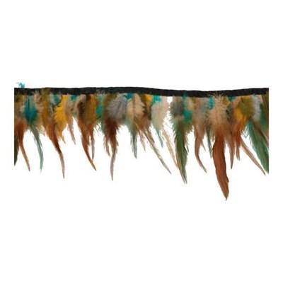 Band met veren 79483 bruin oker aqua 9-16 cm per 50 cm
