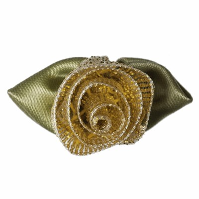 Roosjes goud met groen blad 30 a 20 mm 10 stuks